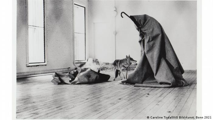 Beuys im Filzmantel, neben ihm ein Kojote.