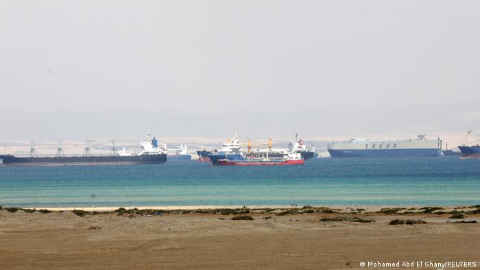 Ships wait in a traffic jam at the entrance to the Suez Canal