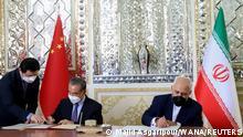 Iran Teheran |Außenminister Yi & Sarif | Unterzeichnung Kooprationsabkommen