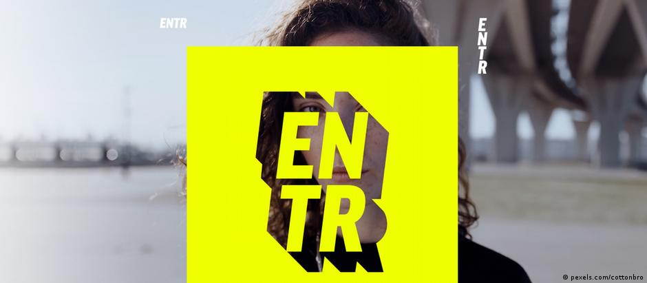 ENTR social media project logo on top of a photo of a woman