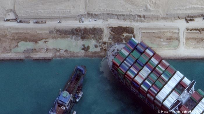 A satellite picture shows the Ever Given container ship