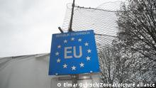 EU sign, blue with yellow stars at the Border, Republic of Austria