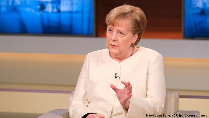 German Chancellor Angela Merkel on the show Anne Will