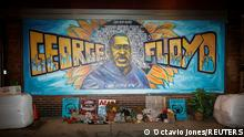 A view of the George Floyd mural at 38th Street and Chicago Avenue a day before opening statements in the trial of former police officer Derek Chauvin, who is facing murder charges in the death of George Floyd, in Minneapolis, Minnesota, U.S., March 28, 2021. REUTERS/Octavio Jones