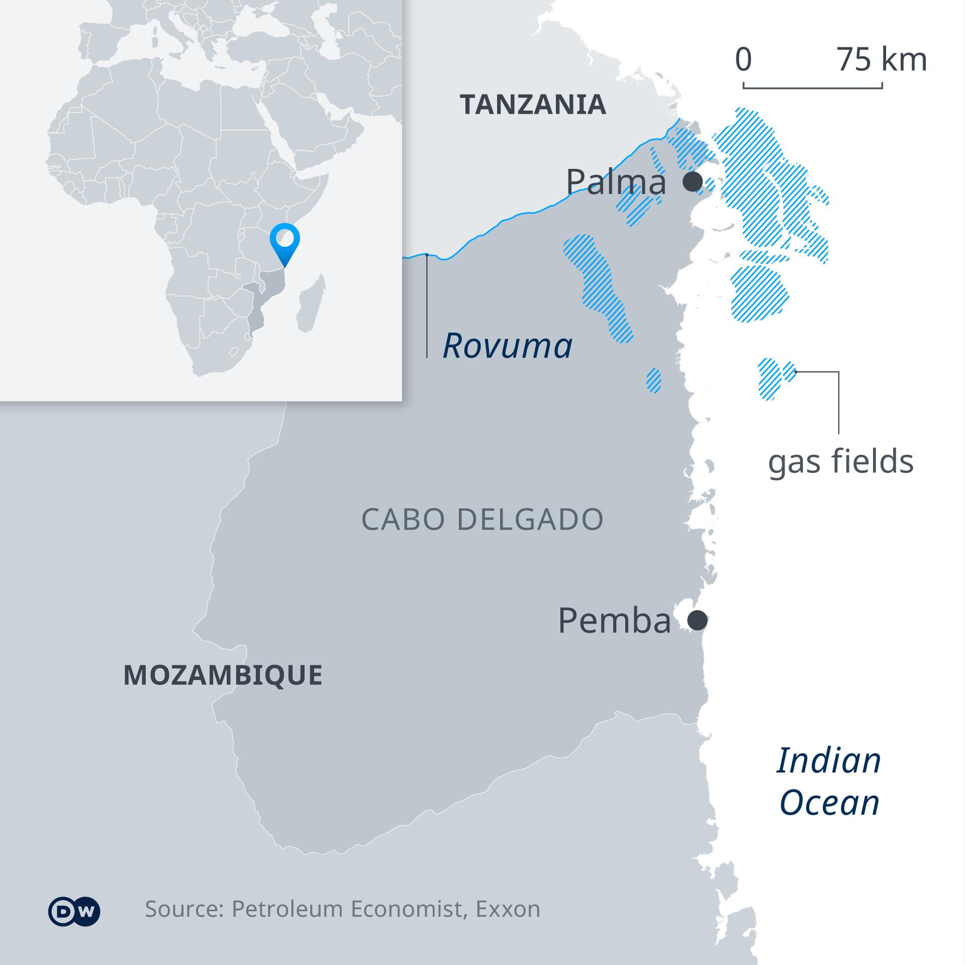 Infografik Karte Mosambik Gasfelder EN