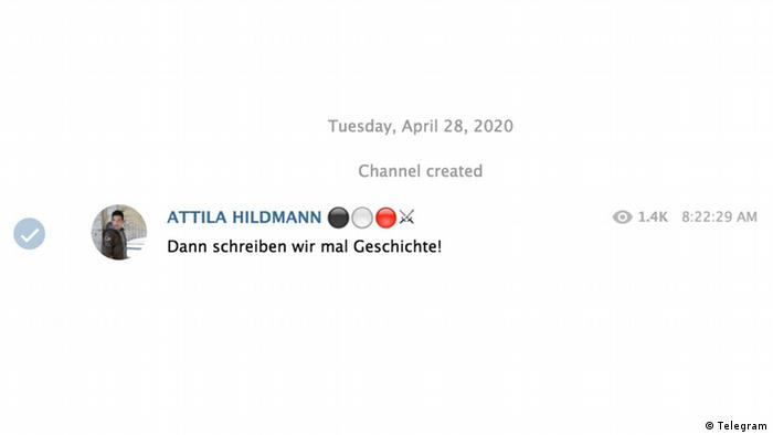 Screenshot des ersten Postings von Attila Hildmann auf seinem Telegram-Kanal vom 28. April 2020
