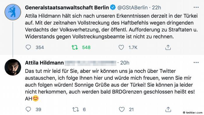 Twitter-Nachricht der Generalstaatsanwaltschaft Berlin zum neuen Aufenthaltsord Hildmanns und dessen Antwort-Tweet