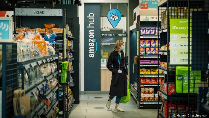 The Amazon hub inside the store, where customers retrieve or return items bought online