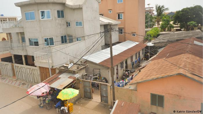 Houses built right next to each other in Cotonou