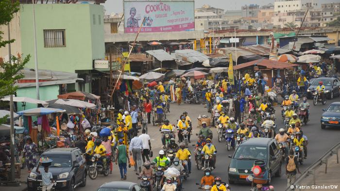 Moped taxis in the city center of Cotonou
