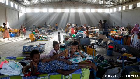 Displaced people are seen at the Shire campus of Aksum University, which was turned into a temporary shelter for people displaced by conflict