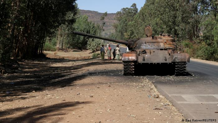 A burned tank stands near the town of Adwa, Tigray region
