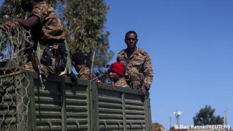 Ethiopian soldiers on a truck near the town of Adigrat, Tigray region