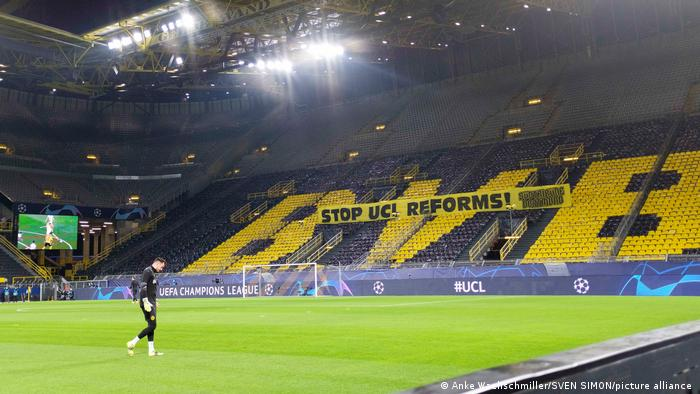 A banner in the empty stands at the stadium in Dortmund says: Stop UCI Reforms!