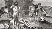 Men casting metal during the Bronze Age. From L'Homme Primitif, published 1870.