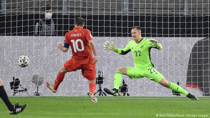Goran Pandev scores the goal that gave North Macedonia a famous win over Germany in March 2021.