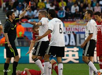German players react to Klose's red card