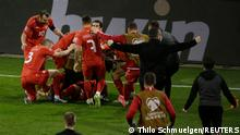 Soccer Football - World Cup Qualifiers Europe - Group J - Germany v North Macedonia - MSV-Arena, Duisburg, Germany - March 31, 2021 North Macedonia's Eljif Elmas celebrates scoring their second goal with teammates Pool via REUTERS/Thilo Schmuelgen