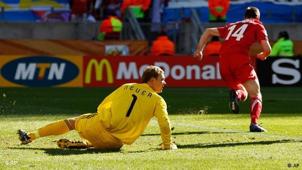 Germany's Manuel Neuer on the ground after Serbia's first goal