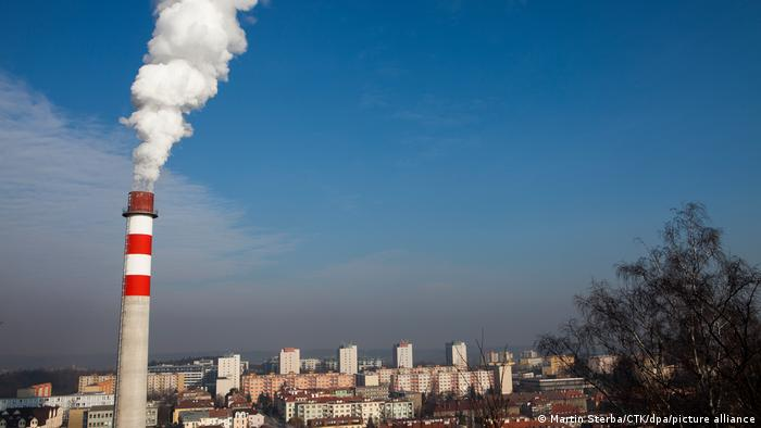 Smokestack and smoke from heating plant in Prague, Czech Republic