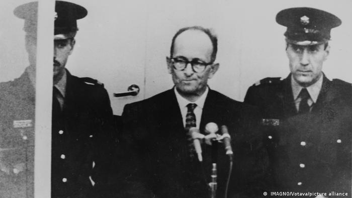 Adolf Eichmann w trakcie procesu w Jerozolimie