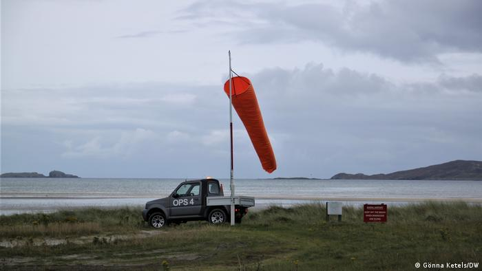 Windsock on the beach of the Scottish island of Barra
