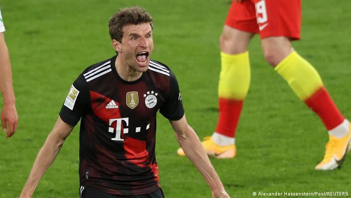 Thomas Müller em jogo do Bayern de Munique