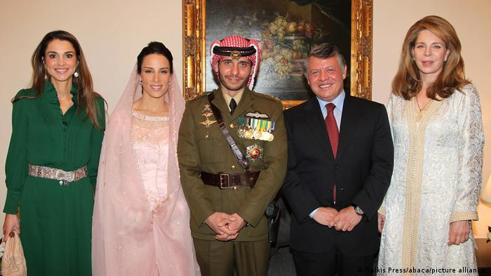 Jordan's King Abdullah II, Queen Rania, Queen Noor, other members of the Royal Family, attend wedding of Prince Hamzah (brother of the King, son of King Hussein and Queen Noor) and Miss Basma Bani Ahmad Al-Atoum, at Basman royal Palace, in Amman, Jordan on January 12, 2012.