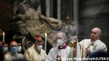 Pope Francis celebrates Easter Mass at St. Peter's Basilica at the Vatican April 4, 2021. Filippo Monteforte/Pool via REUTERS