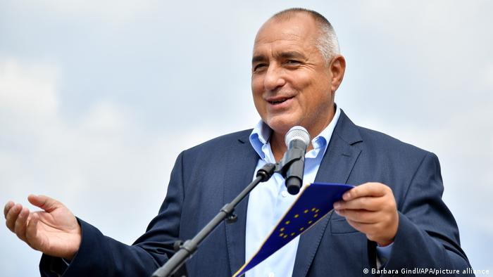 Boyko Borisov gives a speech, small EU flag in his left hand