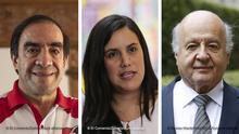 Bildkombo I peruanischen Präsidentschaftskandidaten Yonhy Lescano, Verónika Mendoza und Hernando de Soto