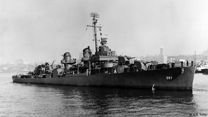 O navio de guerra da Marinha americana USS Johnston, em foto de 1943