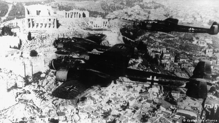 German fighter planes fly over the Acropolis in Athens