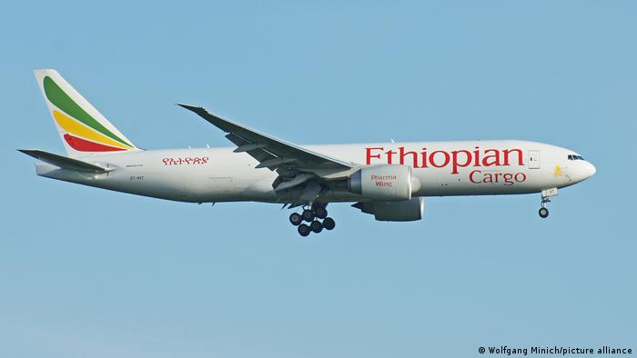 An Ethiopian Airlines Boeing 777F cargo plane