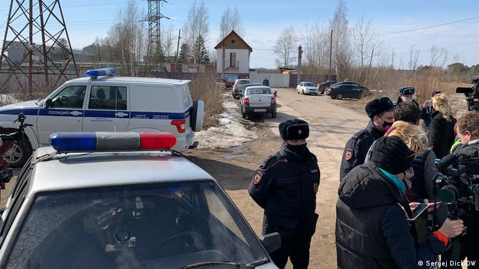 Journalists outside the prison colony where Navalny is being held