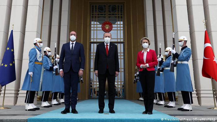 Ursula von der Leyen, Charles Michel and Recep Tayyip Erdogan
