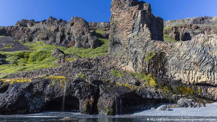 columnar basalt formations on the southern coast of Disko Island, Kuannersuit, Greenland