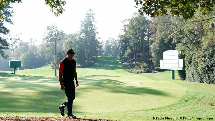 Tiger Woods in action at Augusta in 2020