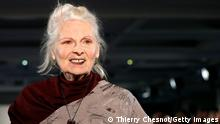 PARIS, FRANCE - MARCH 02: British designer Vivienne Westwood acknowledges the audience at the end of the Vivienne Westwood show as part of the Paris Fashion Week Womenswear Fall/Winter 2019/2020 on March 02, 2019 in Paris, France. (Photo by Thierry Chesnot/Getty Images)