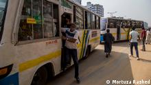 Bangladesh started a 7-day lockdown on Monday aiming to contain the second wave of Covid-19. Keywords: Dhaka, corona, lockdown, public transport, shops, Bangladesh, bus
