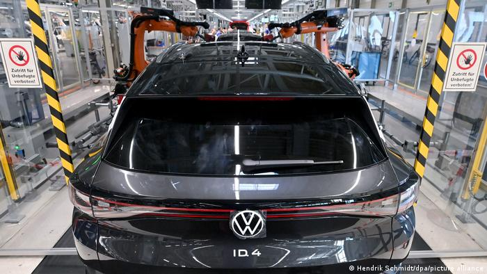 Volkswagen car being assembled in a factory