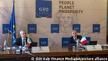 Italien G20 Finanzminister Treffen Videokonferenz Daniele Franco und Ignazio Visco