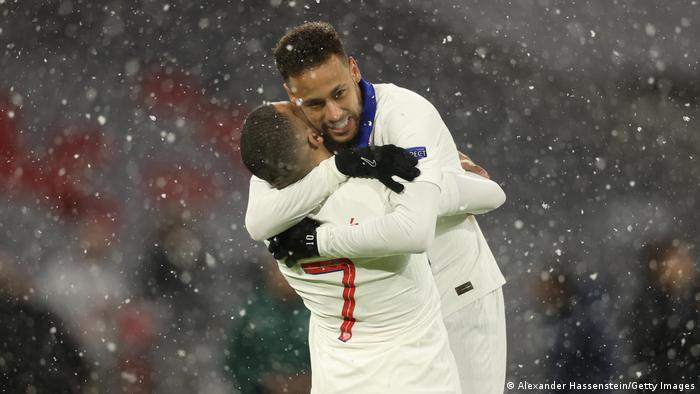 Neymar and Mbappe celebrate for PSG.