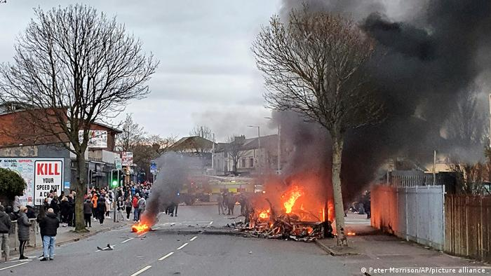 A bus burns on the Shankill road area of West Belfast Northern Ireland on April 7.