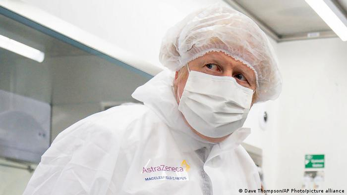 Britain's Prime Minister Boris Johnson visiting an AstraZeneca facility in Macclesfield, England, on April 6.