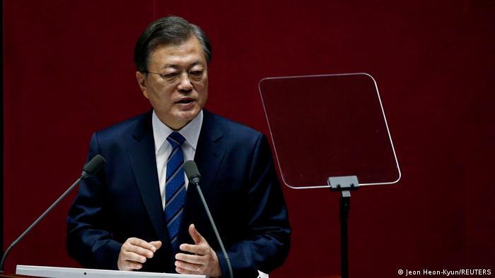South Korean President Moon Jae-in speaks in Seoul