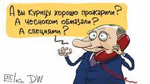 Karikatur von Sergey Elkin | Schikanen gegen Nawalny, der im Hungerstreik ist