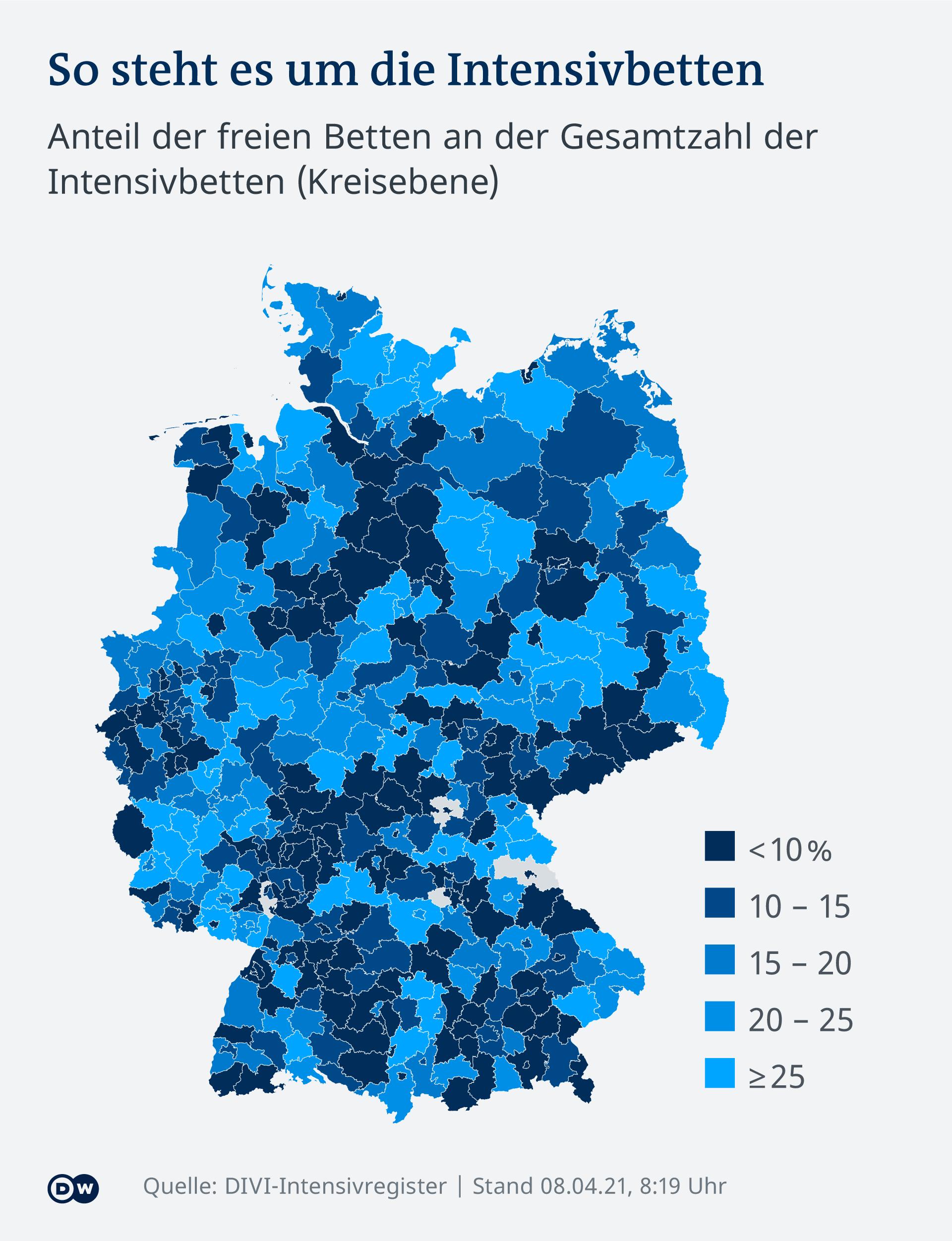 Infografik Karte Anteil der freien Betten an der Gesamtzahl der Intensivbetten (Kreisebene) DE