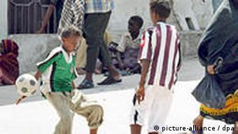 Somali youths playing soccer