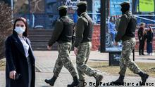 27.03.2021 Police patrol a street to prevent an opposition action to protest the official presidential election results in Minsk, Belarus, Saturday, March 27, 2021. Belarusian opposition has urged people to protest against repressions in the country and Lukashenko's regime. (BelaPan via AP)